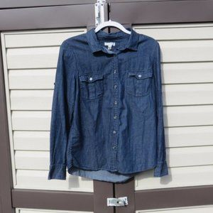 J. Crew Keeper Chambray Button Down Top Sz 12